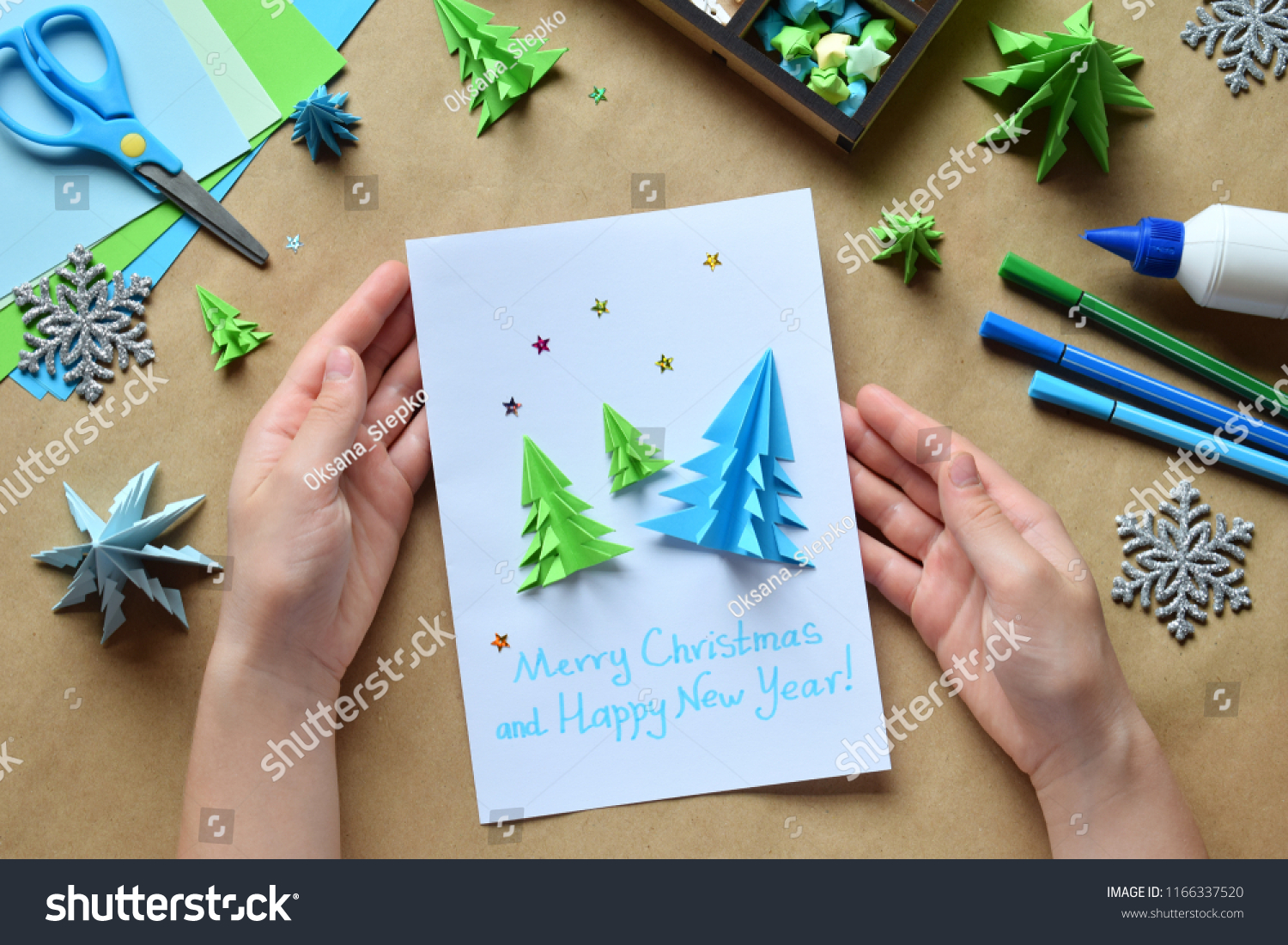 making greeting card with origami 3d xmas tree from paper merry christmas and happy new