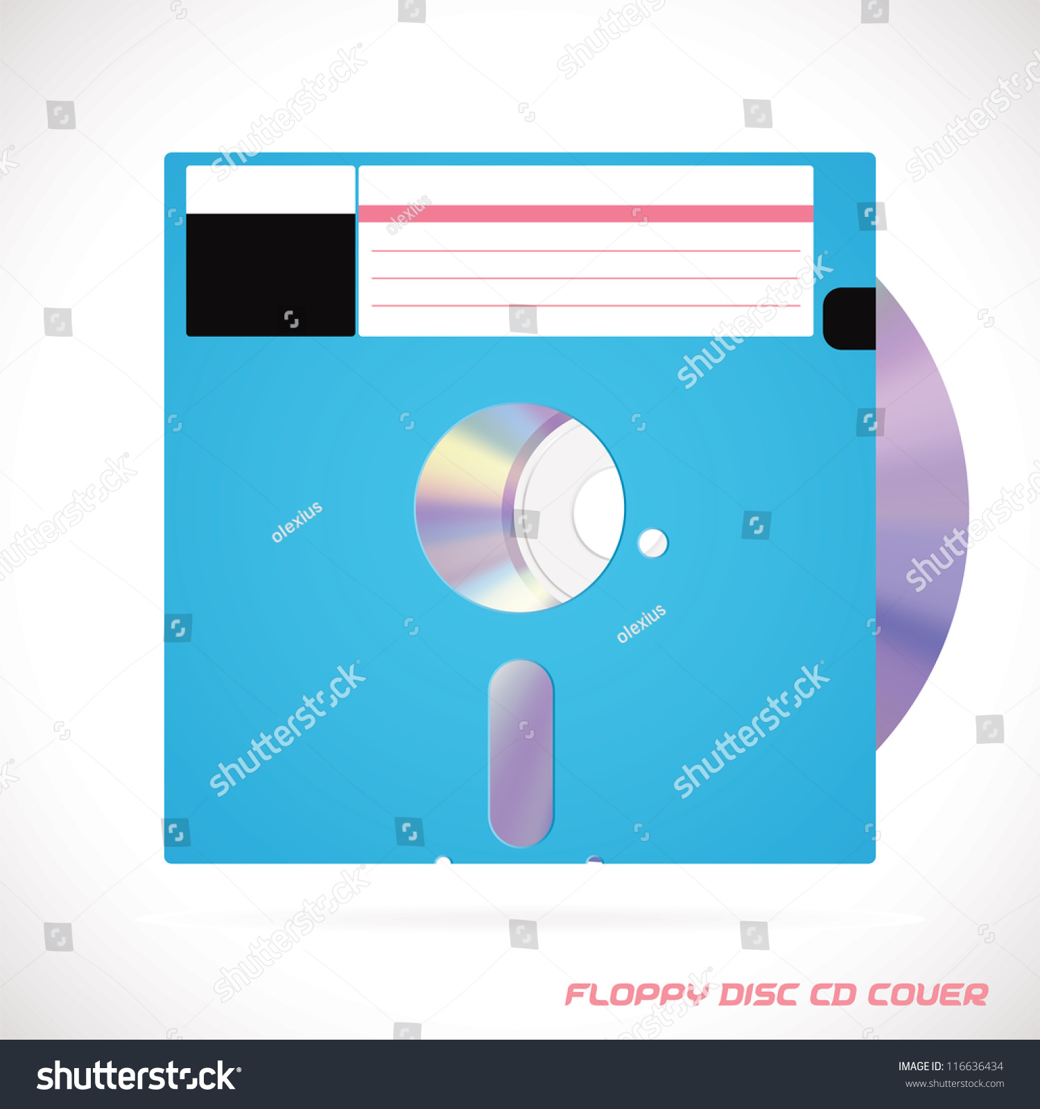 Old Fashion Floppy Disc Compact Disc Stock Vector (Royalty Free