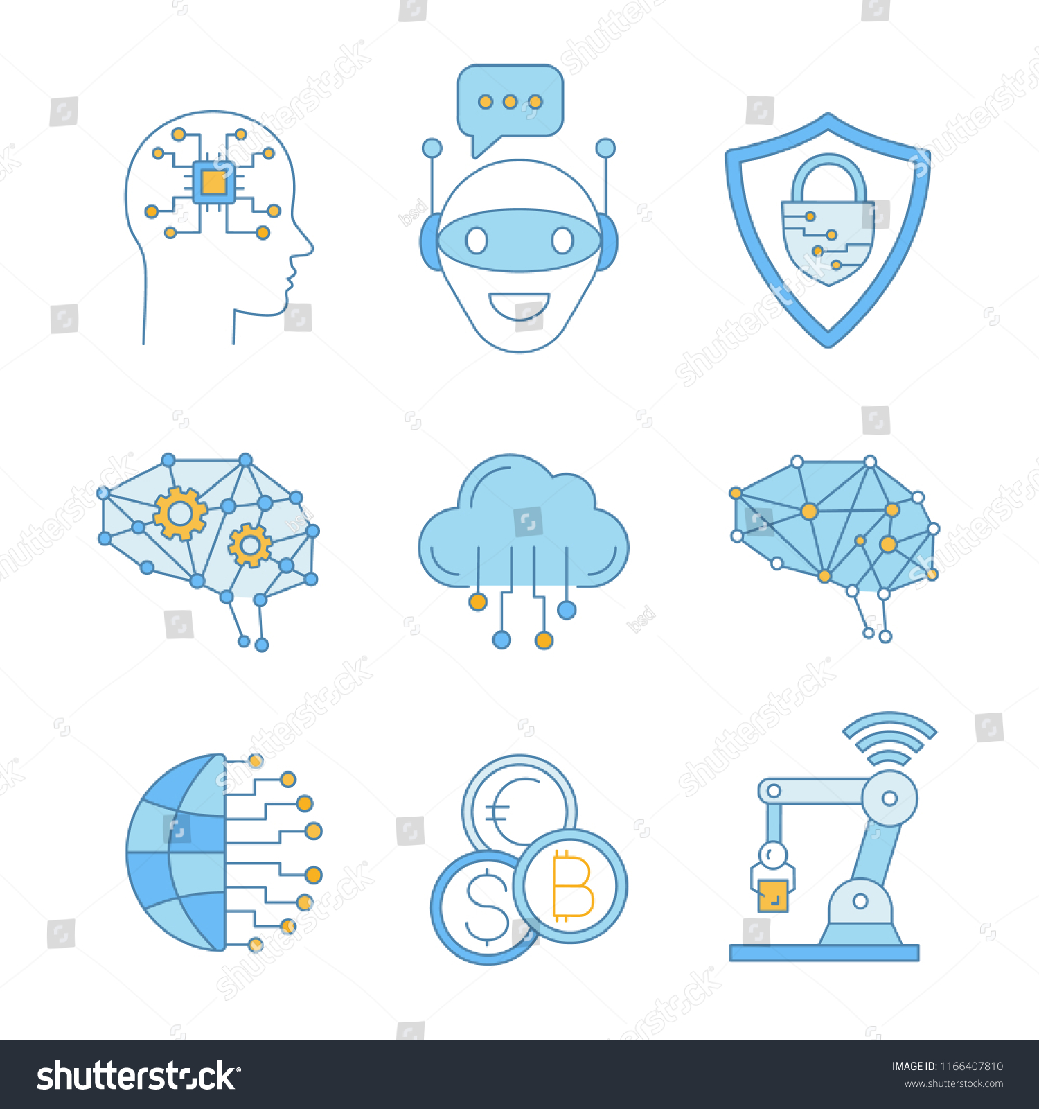 Artificial Intelligence Color Icons Set Ai Stock Vector