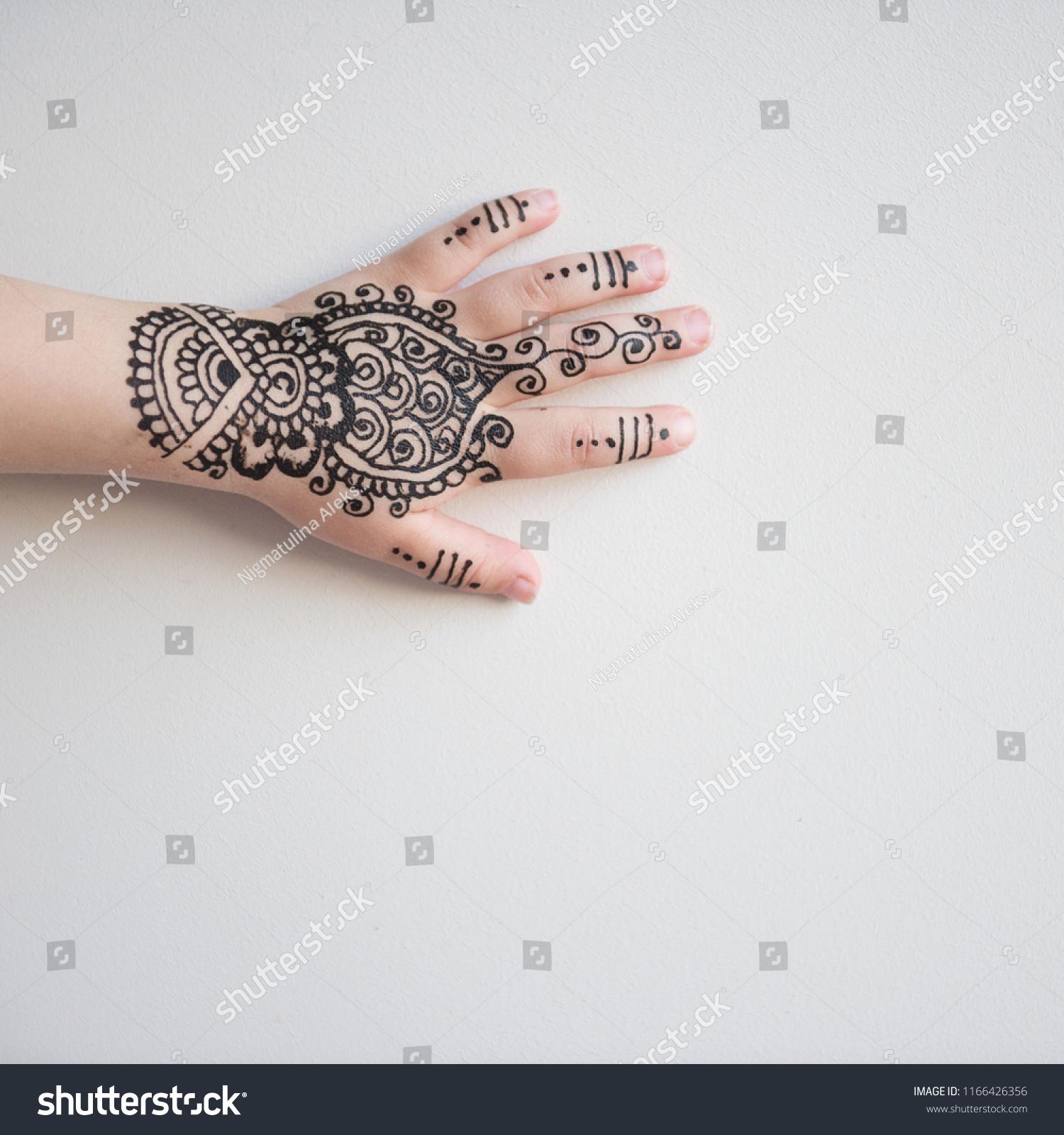 Children Hand Black Cute Henna Mehendi Stock Photo Edit Now
