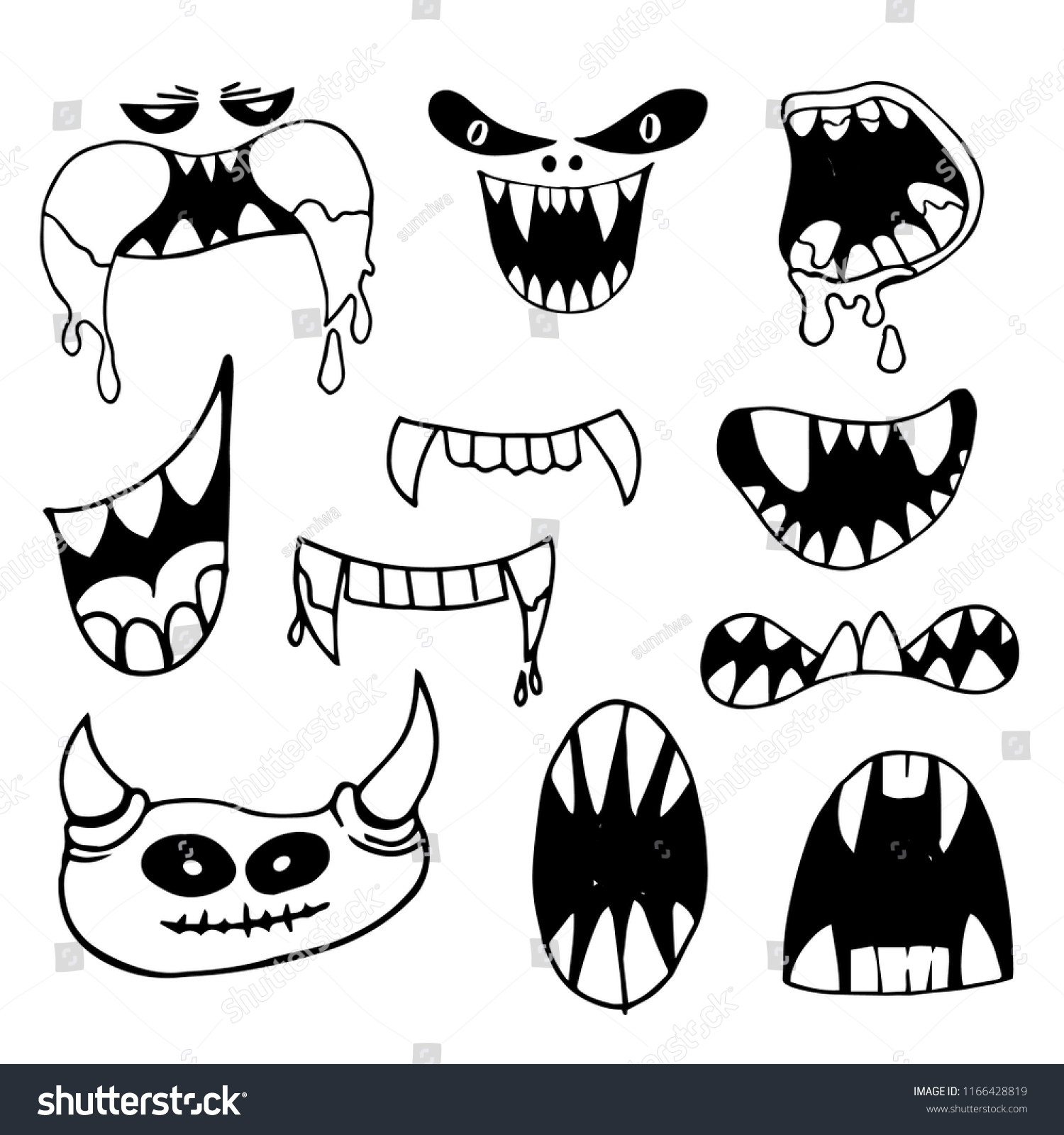 Hand Drawing Set Black White Scary Stock Vector Royalty Free 1166428819