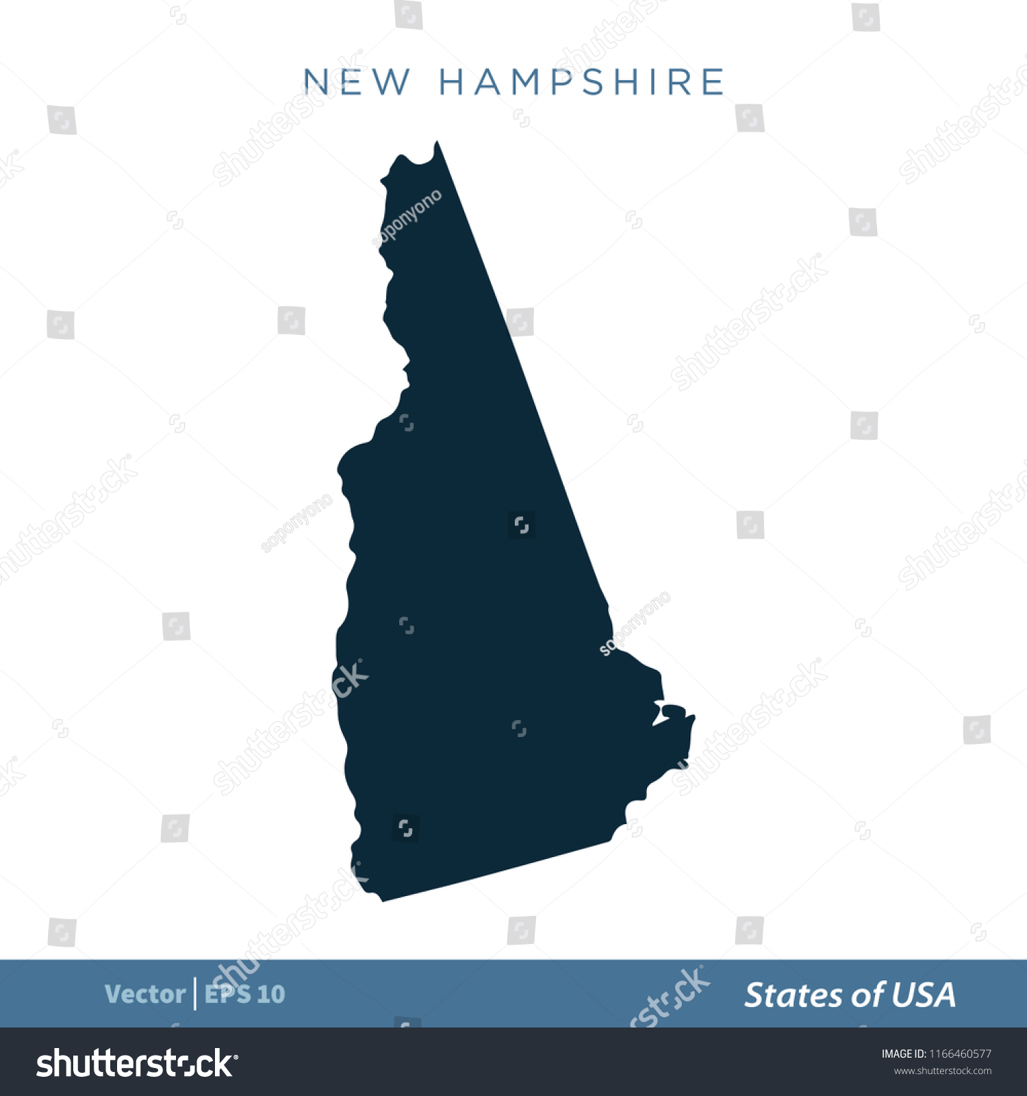 New Hampshire States Us Map Icon Stock Vector Royalty Free