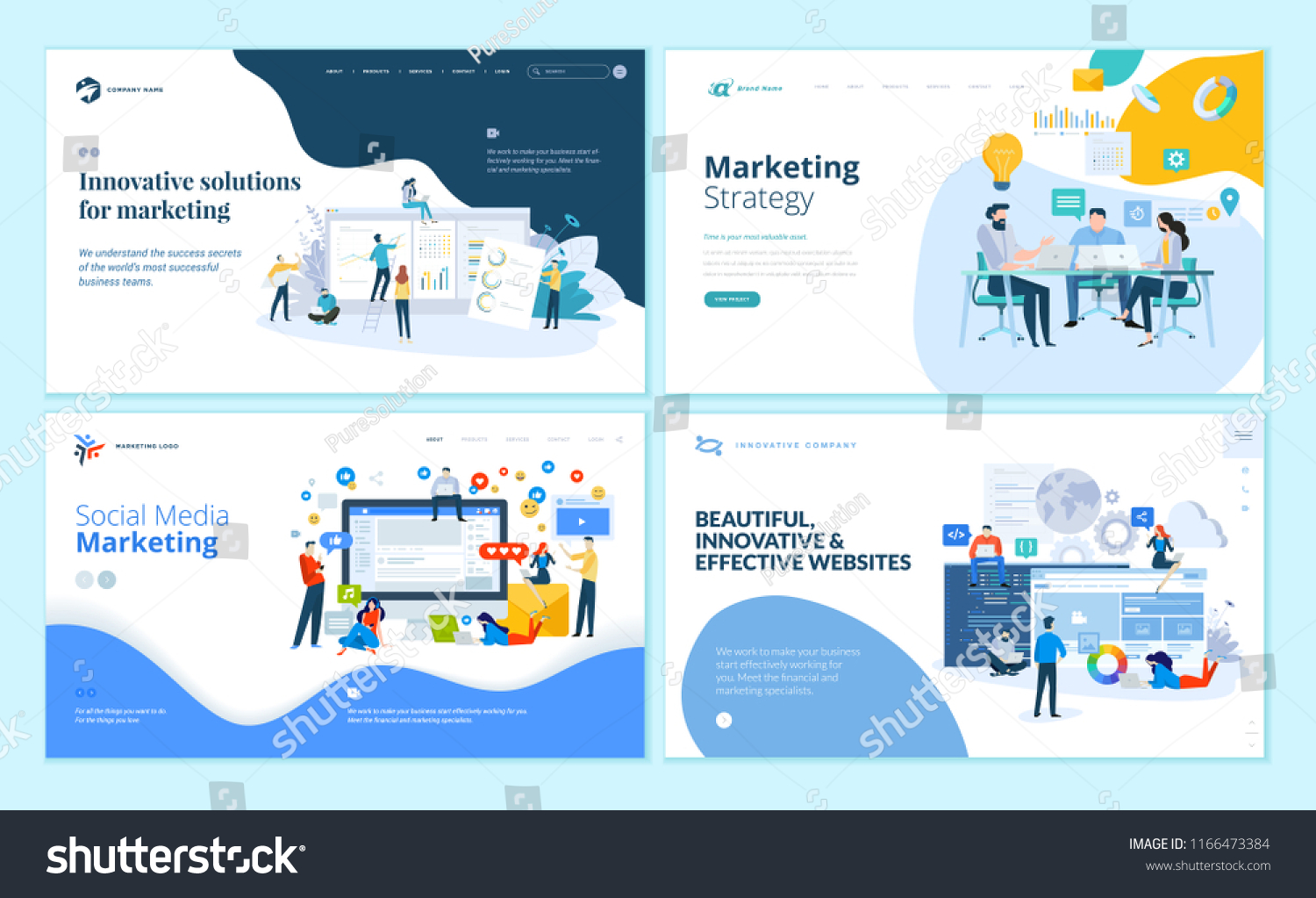 Set Web Page Design Templates Internet Stock Vector Royalty Free