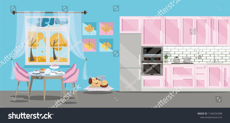 Flat Illustration Kitchen Set Pink Color Stock Vector (Royalty Free ...
