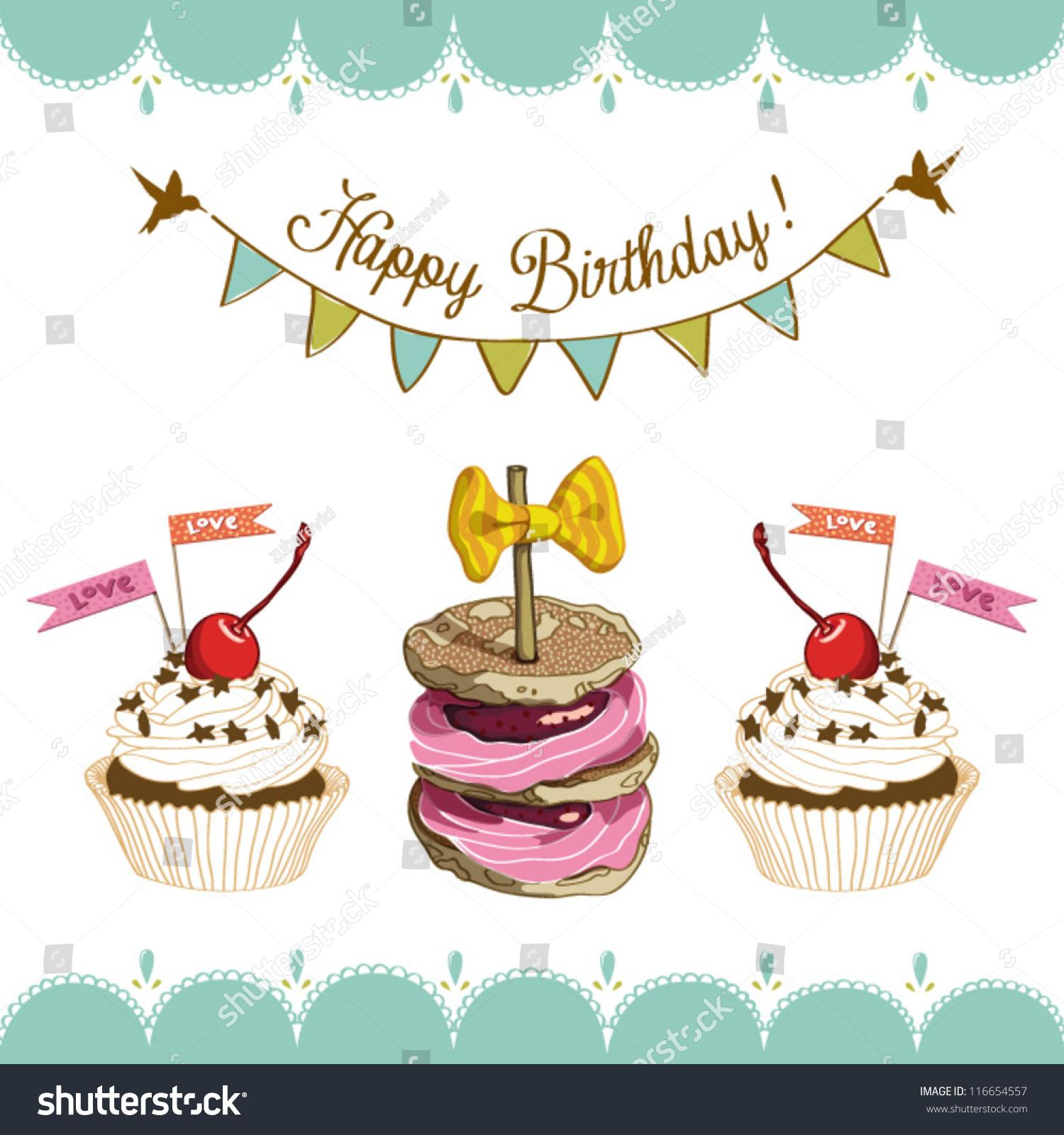 Vector Happy Birthday Card Cake Cupcakes Stock Vector