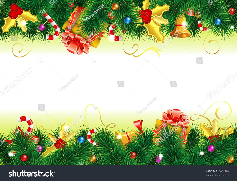 Christmas Frame Candy Fir Branches Mistletoe Stockillustration ...