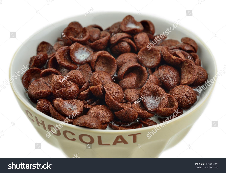 Bowl Chocolate Cornflakes Milk Stock Photo 116669194
