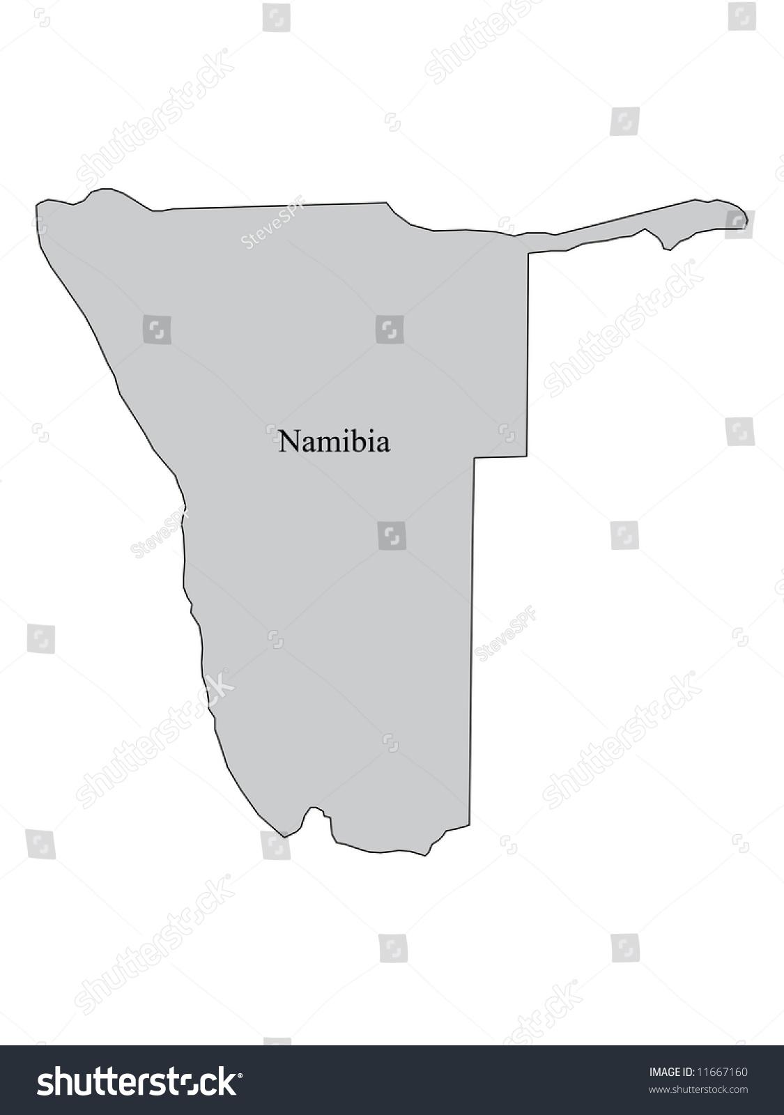 Namibia Map Outline Map Namibia Africa Stockillustration ...