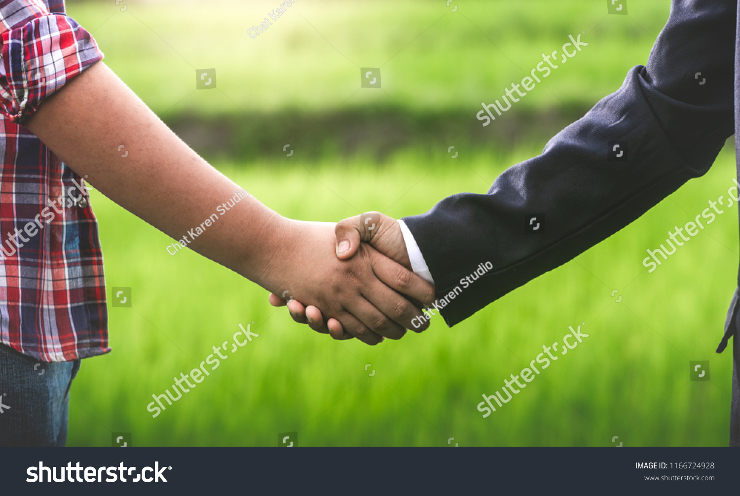 Businessman Farmer Shaking Hands Rice Field Stock Photo Edit Now Or Of Circuit Board Skinned Human Close Up And Binary Code In Business Concepts