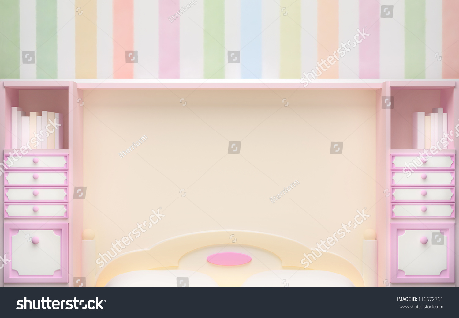 Girl 39 S Bedroom Wall In Pastel Colors With Pink Cabinet 3d