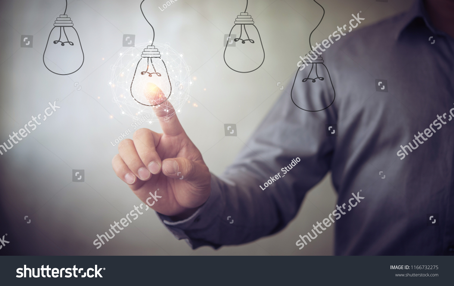 new idea creative idea.Concept of idea and innovation.Hand touch Light bulb #1166732275