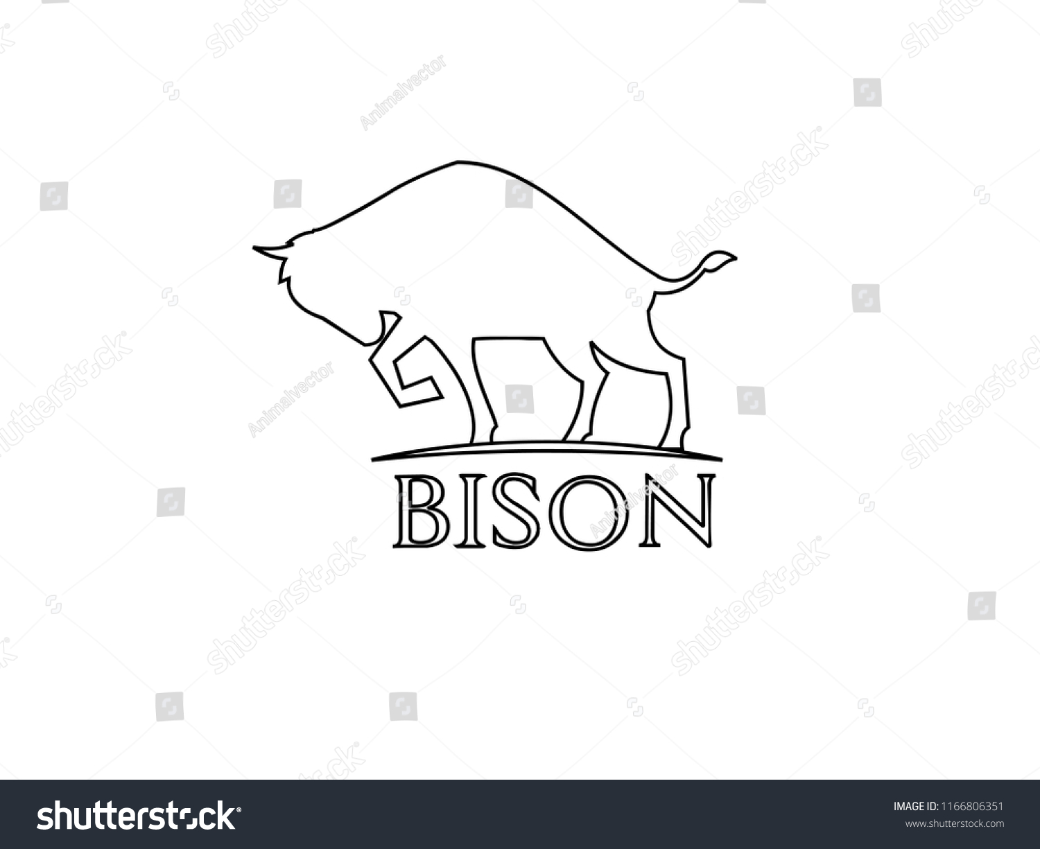Bison Outline Logo Icon Designs Stock Vector (Royalty Free