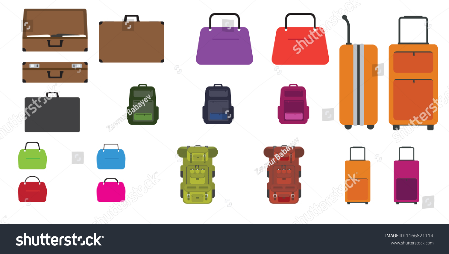 Set of bags. Travel bag, rucksack, woman bag and other bags with Flat  design style. Vector illustration. - Vector c18cdb653a