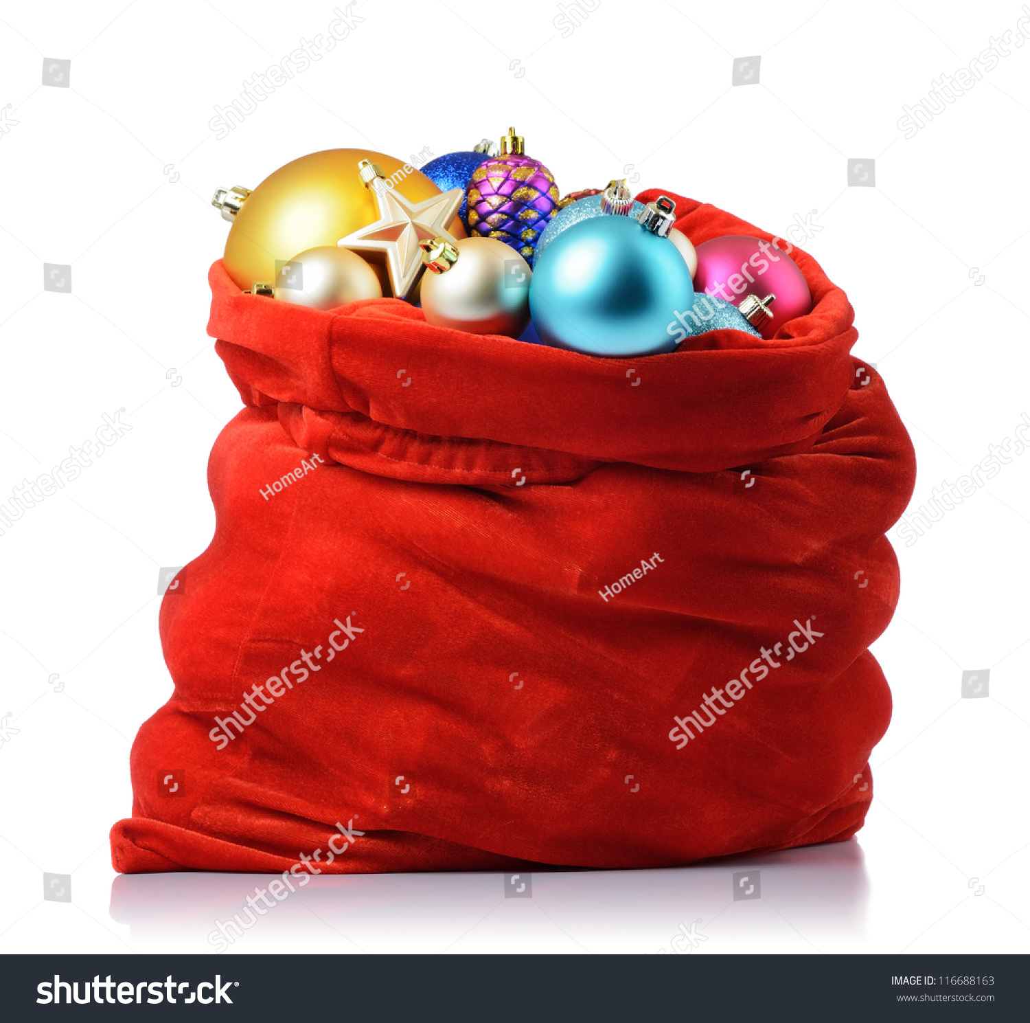 Sack Of Toys For Christmas : Santa claus red bag with christmas toys on white