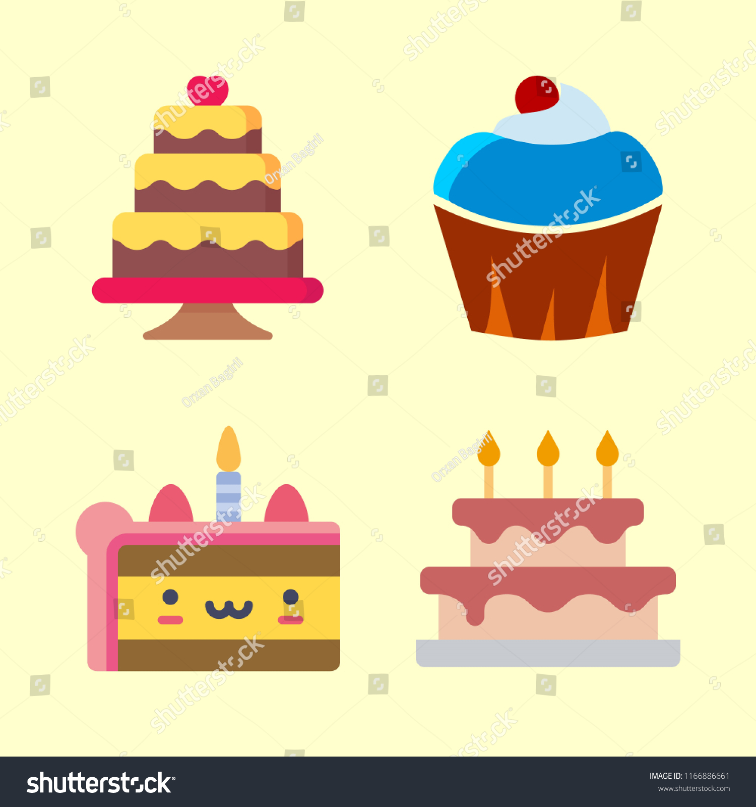 Cake Vector Icons Set Wedding Cake Stock Vector (Royalty Free ...