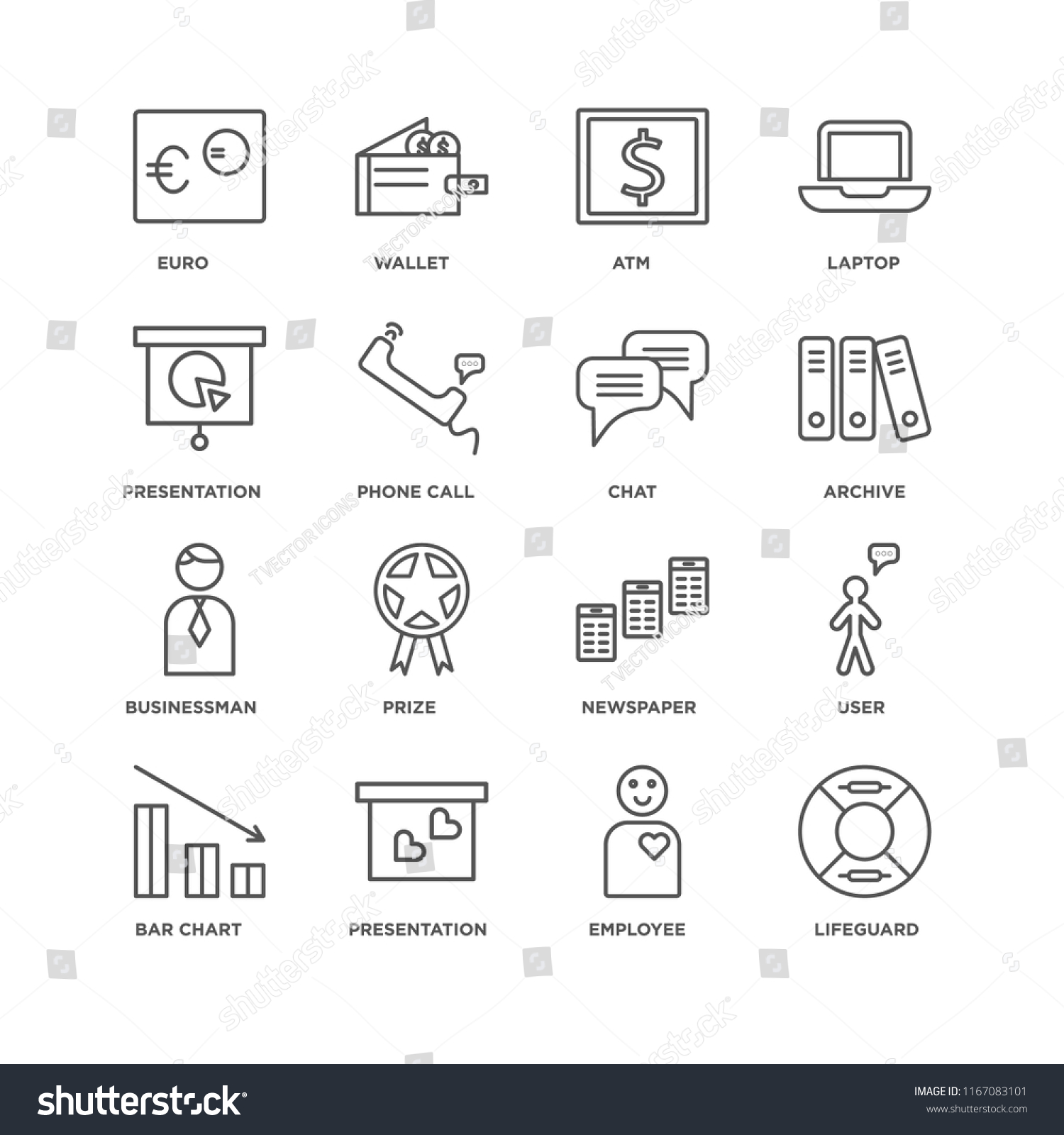 Set 16 Simple Line Icons Such Stock Vector Royalty Free 1167083101 Battery Cell Diagram Editable Powerpoint Template Of As Lifeguard Employee Presentation Bar Chart