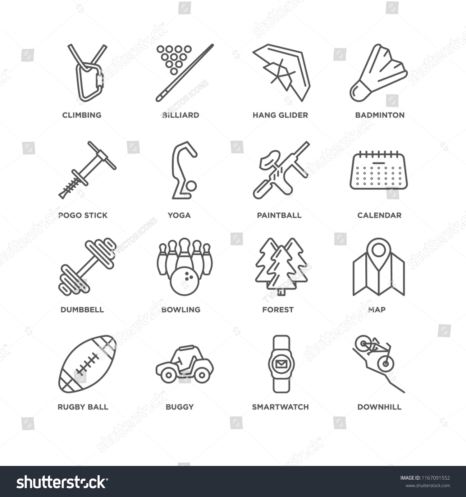 Set 16 Simple Line Icons Such Stock Vector (Royalty Free) 1167091552