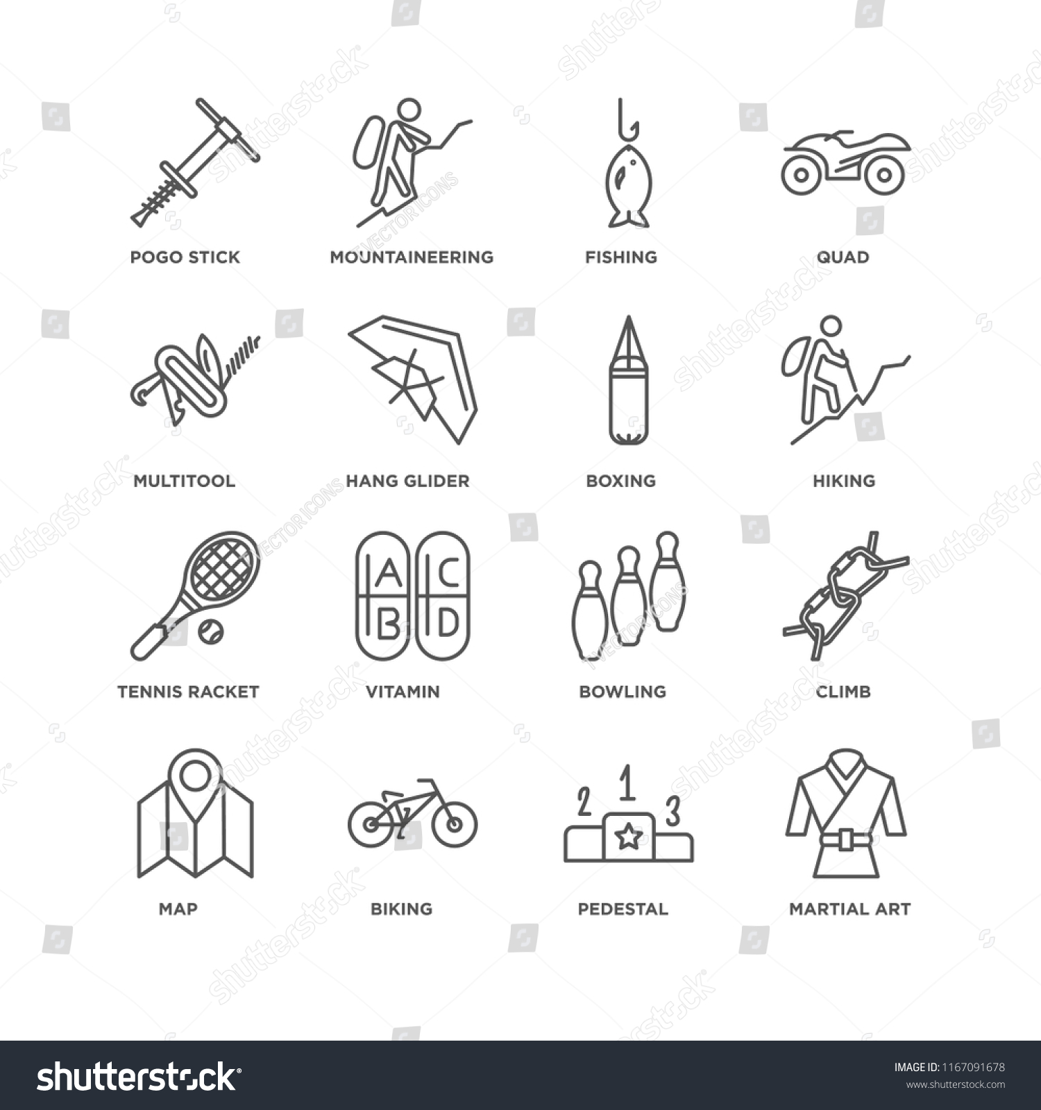 Set 16 Simple Line Icons Such Stock Vector (Royalty Free