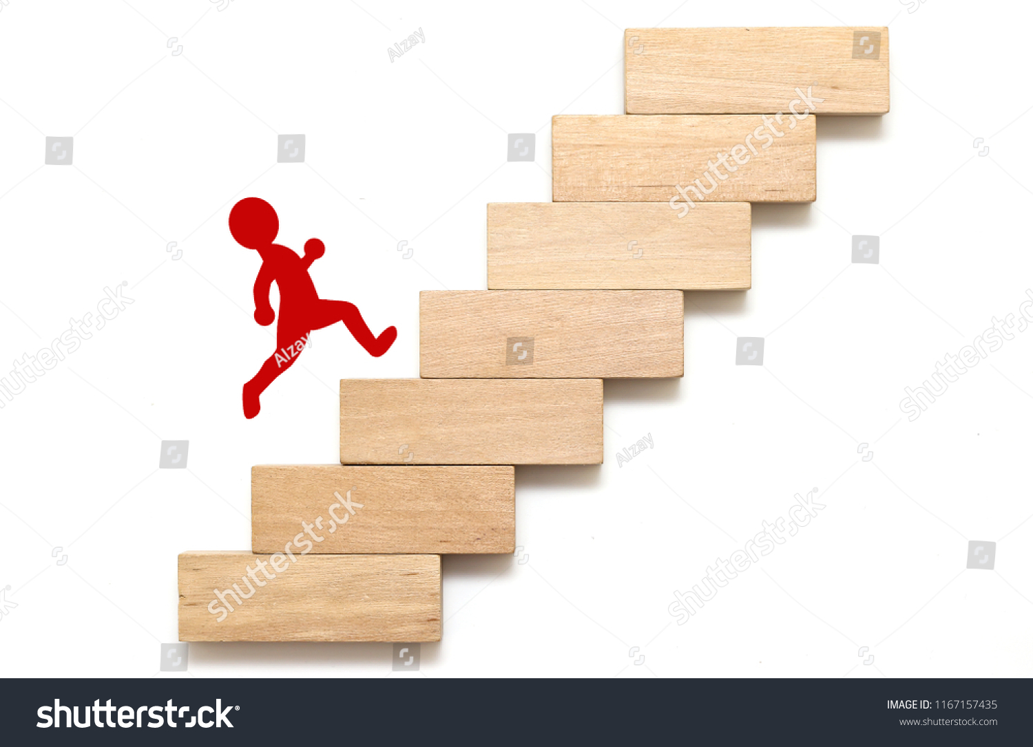 Wood Block Stacking Step Stair Business Stock Photo Edit Now