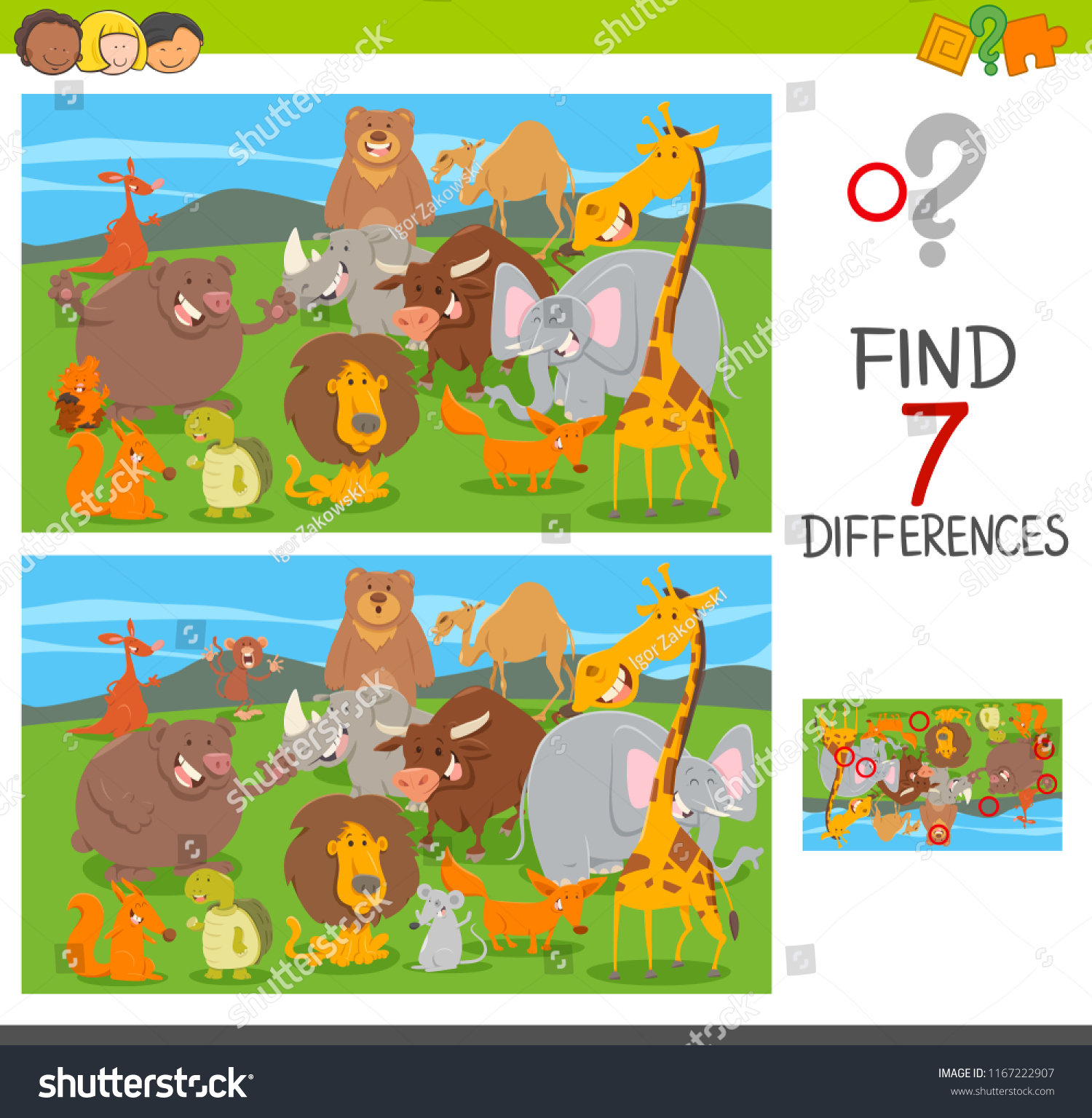 Cartoon illustration of finding seven differences between pictures educational puzzle game for children with animal characters