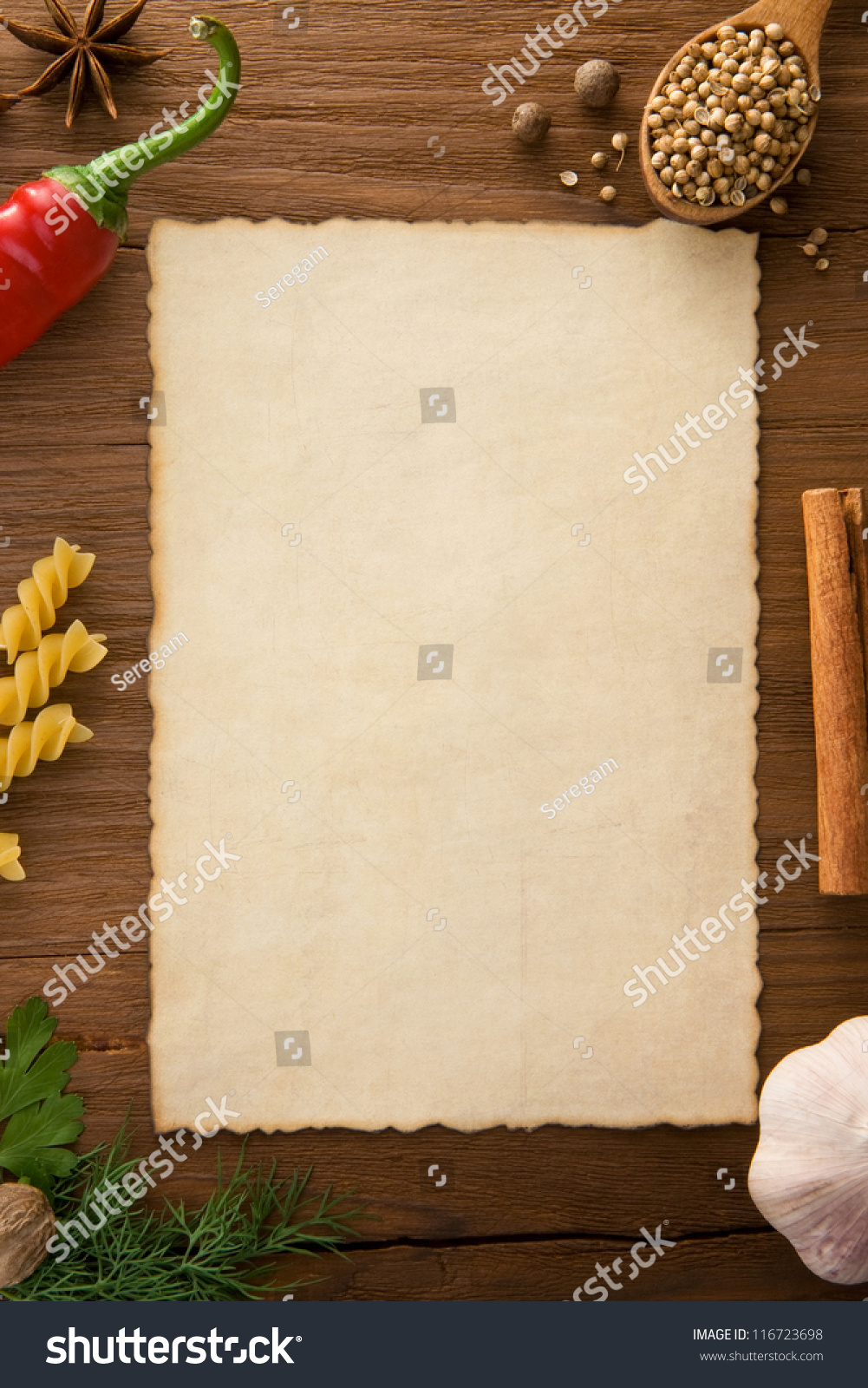 background cooking recipes spices on wooden stock photo