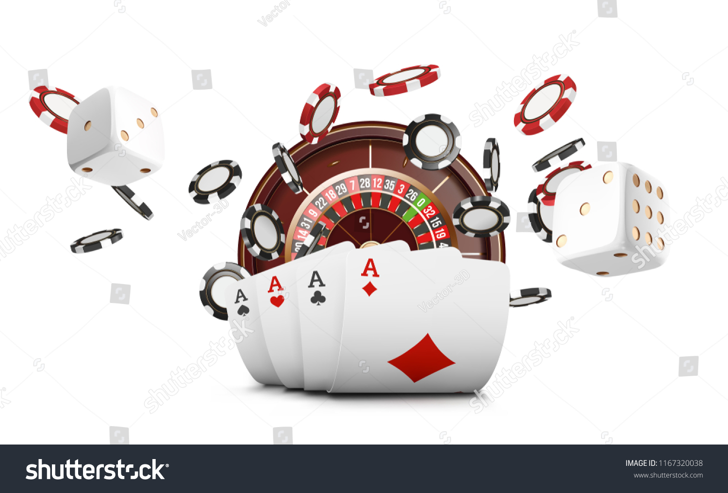 Playing Cards Poker Chips Fly Casino Stock Vector Royalty Free