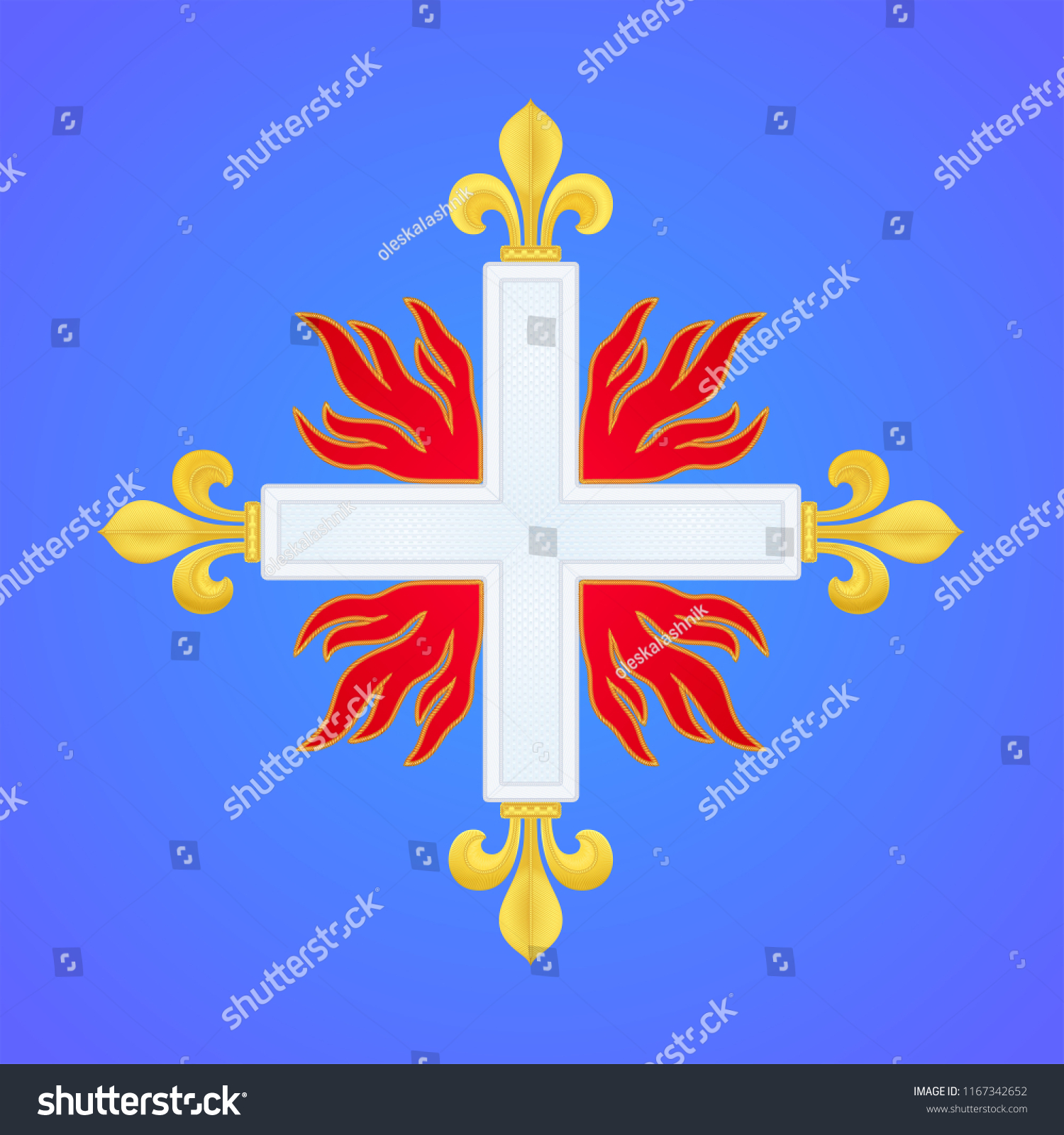 Musketeer Cross Fleury Insignia French Royal Stock Vector Royalty