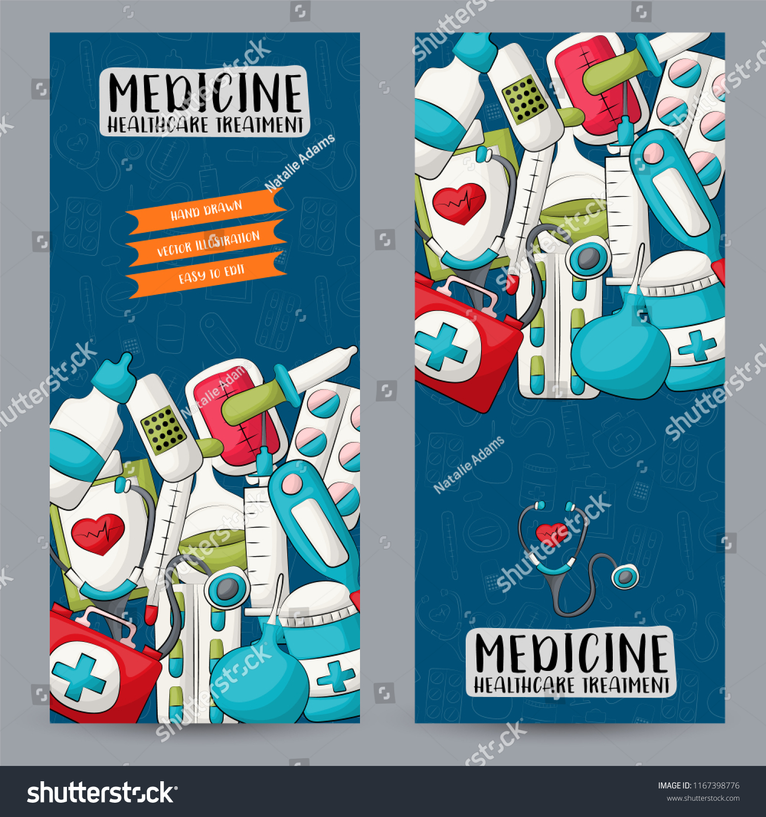 Medicine Healthcare Vertical Banner Set Cute Stock Vector Royalty Free 1167398776