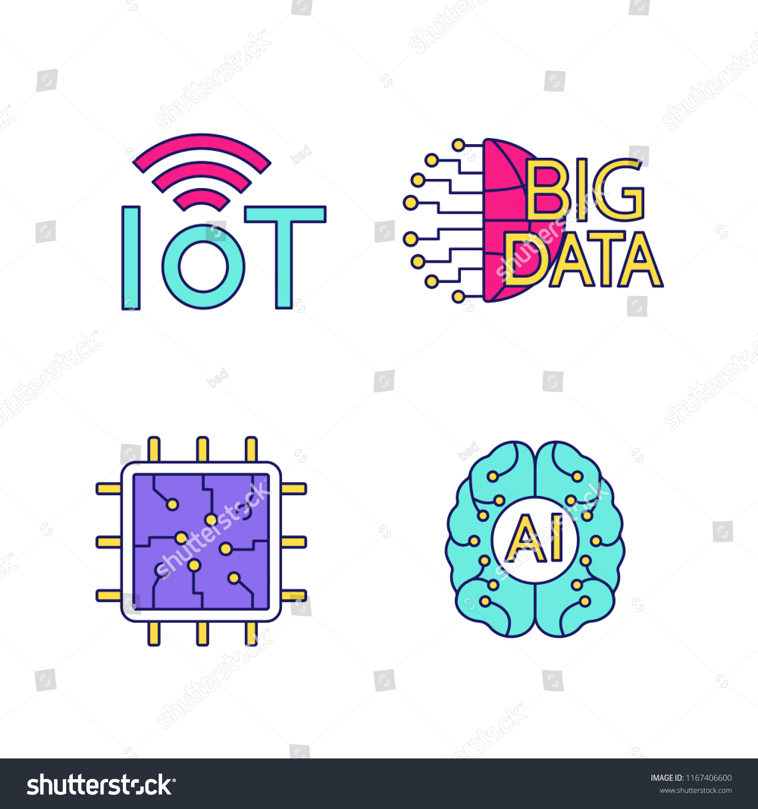 Artificial Intelligence Color Icons Set Neural Stock Vector