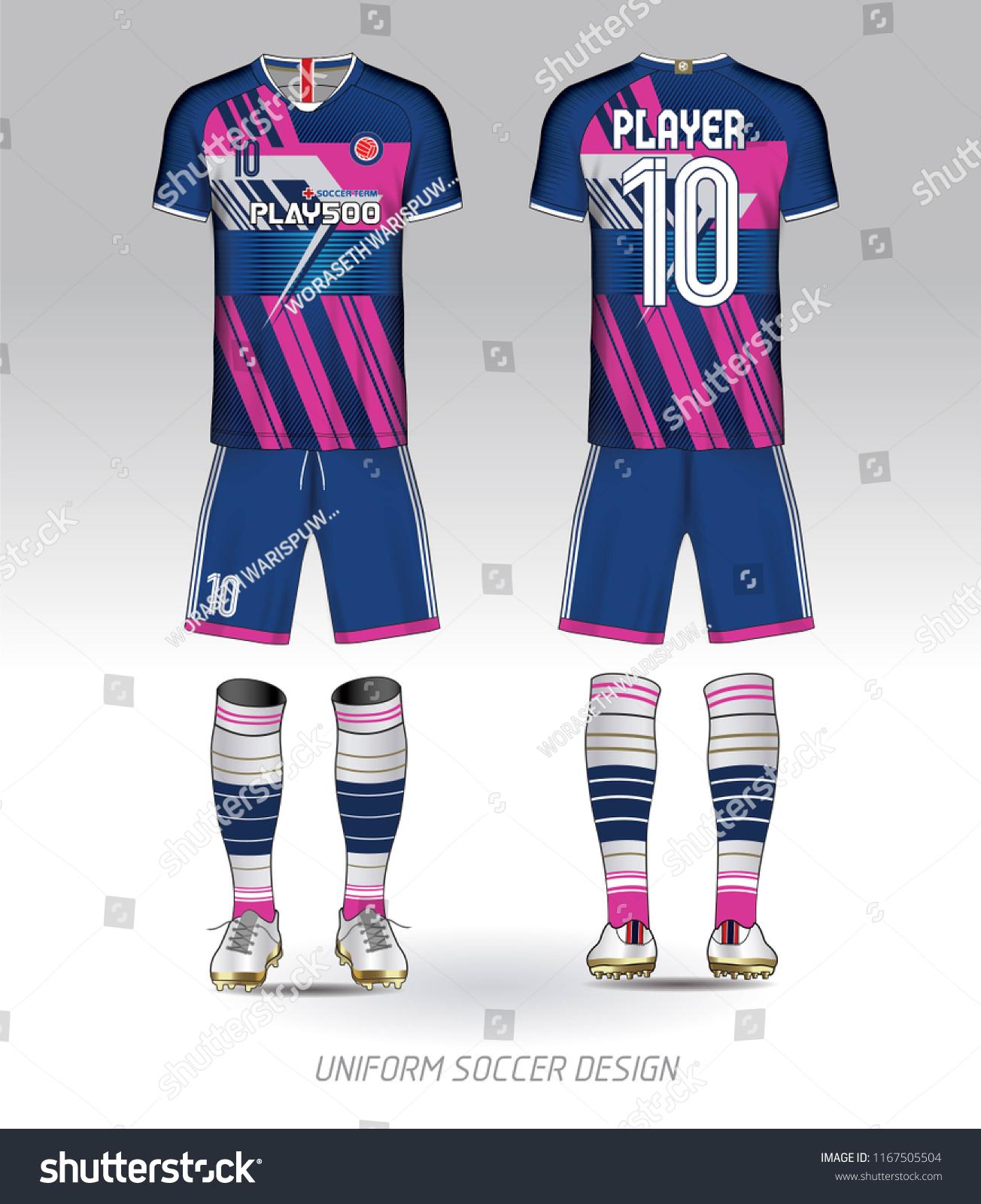 Blue Pink Layout Football Sport Tshirt Stock Vector Royalty Free