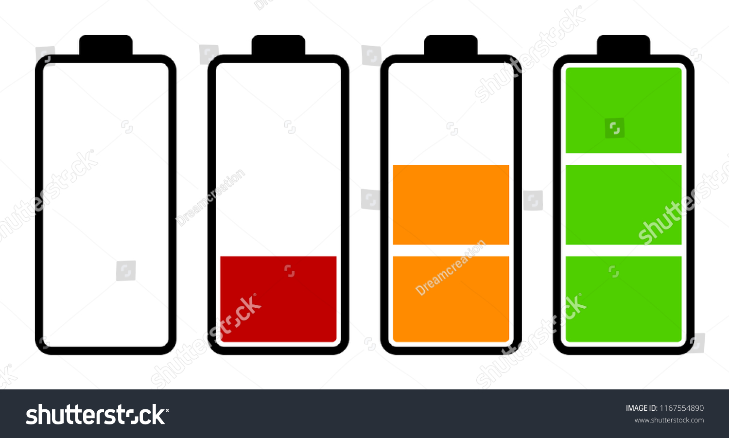 Set Battery Charge Level Indicator Stock Vector Royalty Free Of