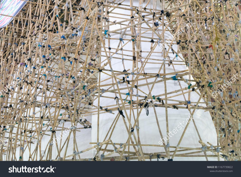 Asian Bamboo Scaffolding Technology Restoration Chauk Stock