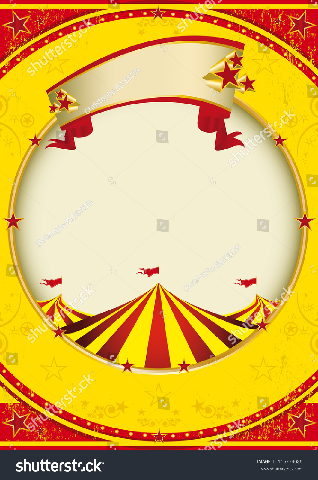 Big Top Fiesta Red Yellow Background Stock Vector