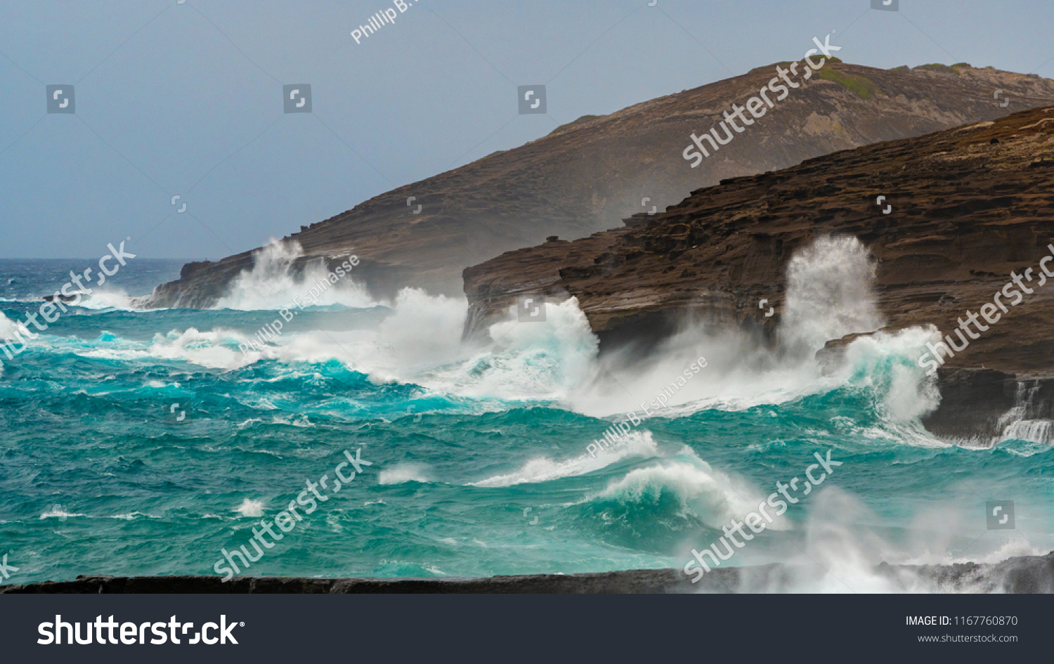 Rough Tropical Seas Dangerous Surf Conditions Stock Photo