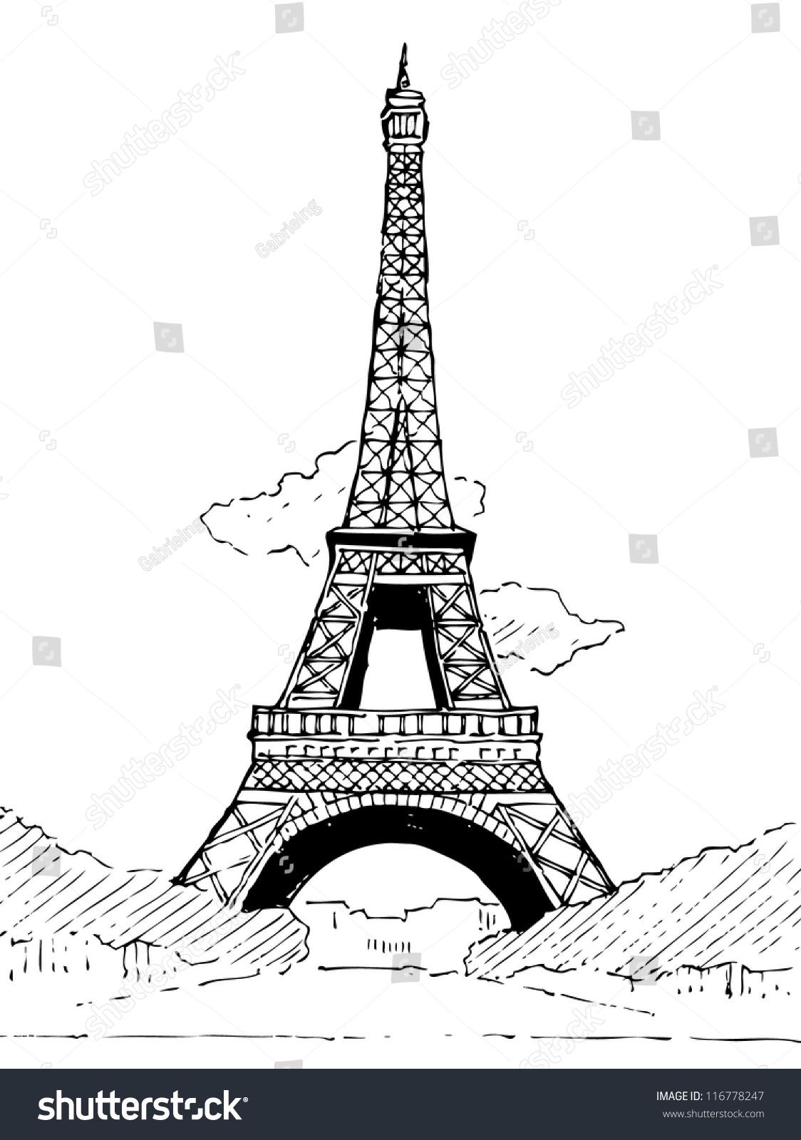 Eiffel Tower Doodle Vector Stock Vector 116778247 ...