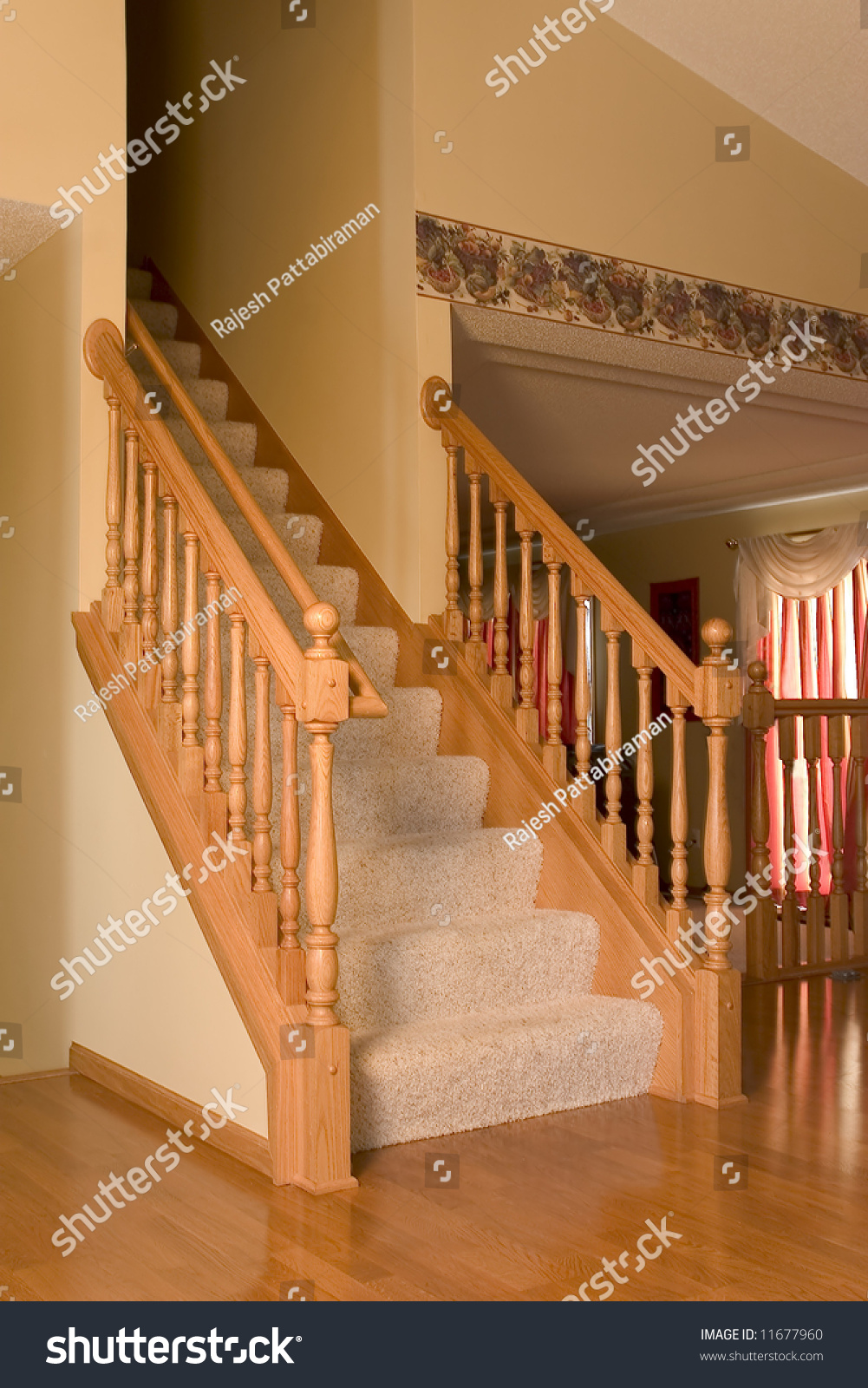 Stairs Side Rails Level House Stock Photo 11677960