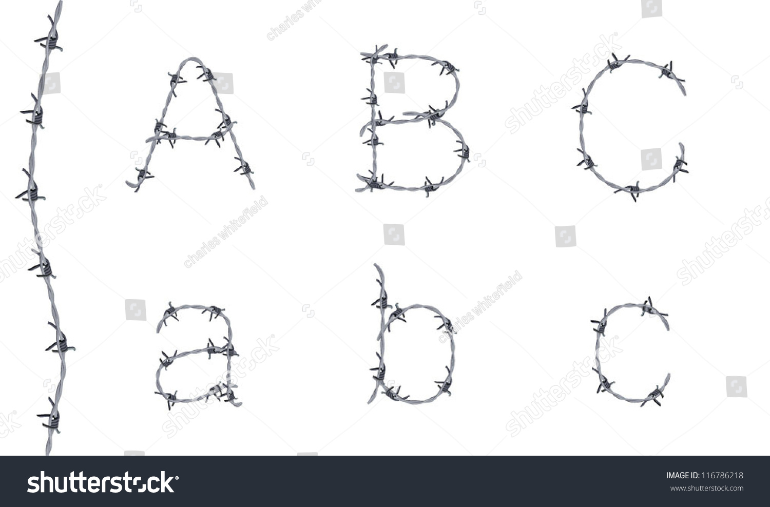 Alphabet Barbed Wire Font Letters B Stock Vector 116786218 ...