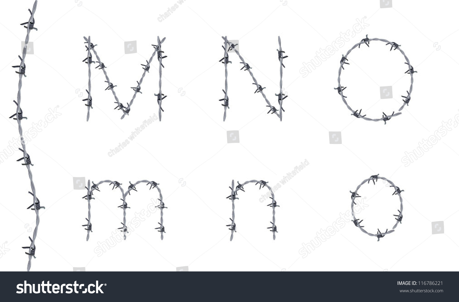 Alphabet Barbed Wire Font Letters M Stock Vector (Royalty Free ...