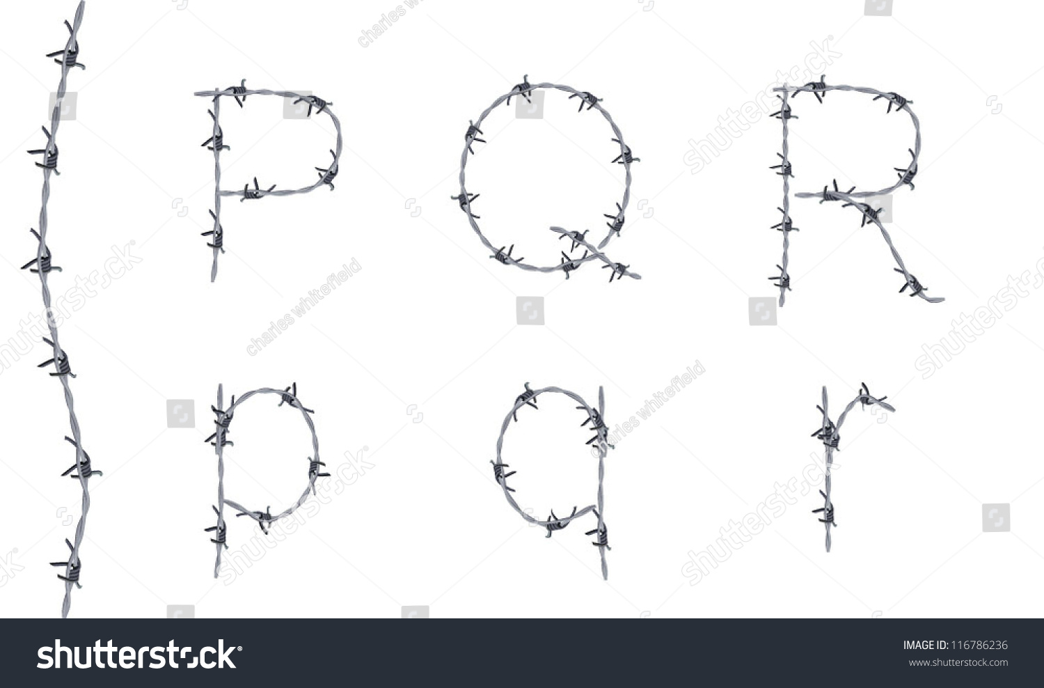 Alphabet Barbed Wire Font Letters P Stock Vector 116786236 ...