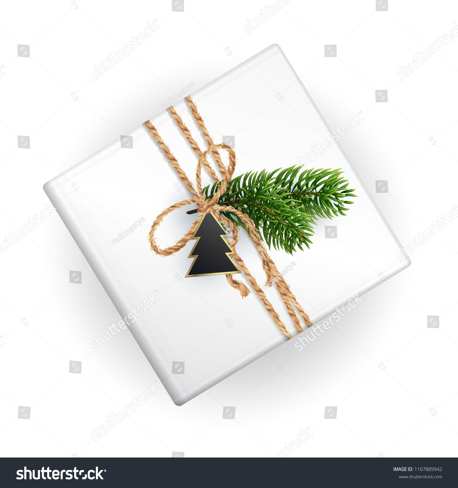 Mockup Christmas Gift Box Your Pattern Stock Vector Royalty Free