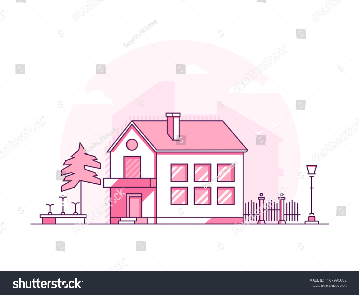 Two Storey Building Modern Thin Line Stock Vector (Royalty Free ...