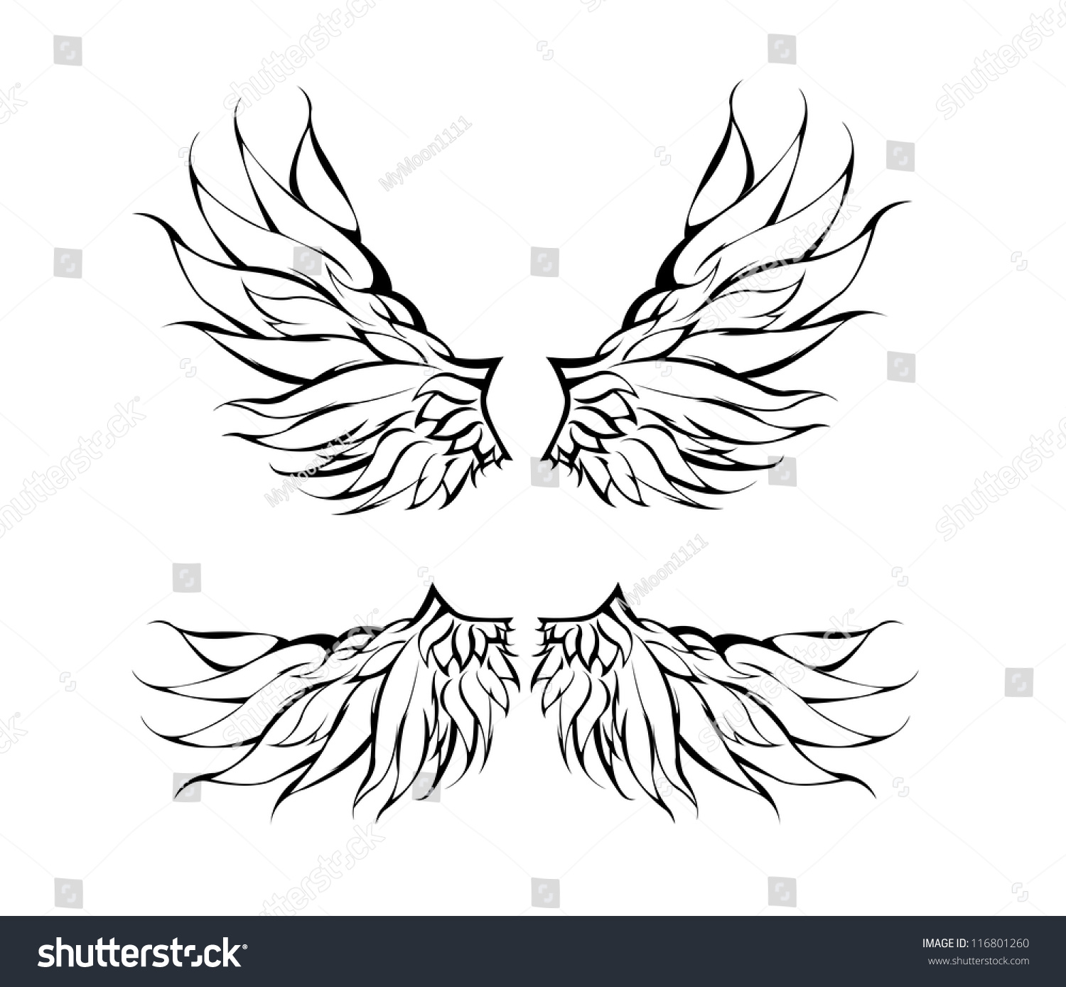 tribal wings tattoo design vector 116801260 shutterstock. Black Bedroom Furniture Sets. Home Design Ideas