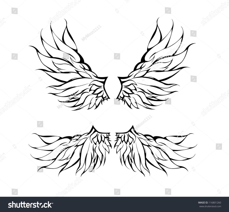 Tribal Wings Tattoo Design Vector