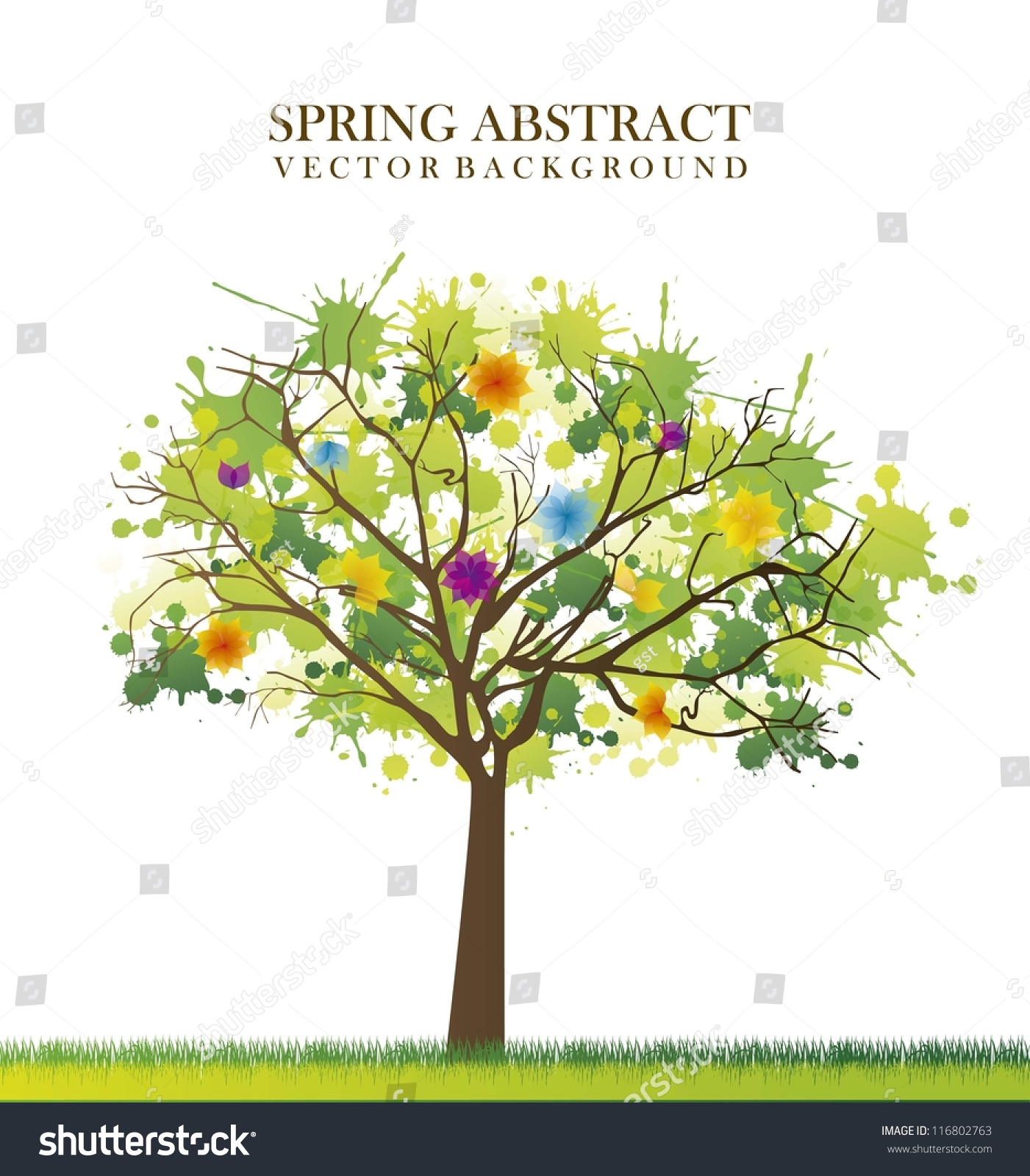 Stock Vector Spring Tree Abstract Over White Background Vector Illustr...