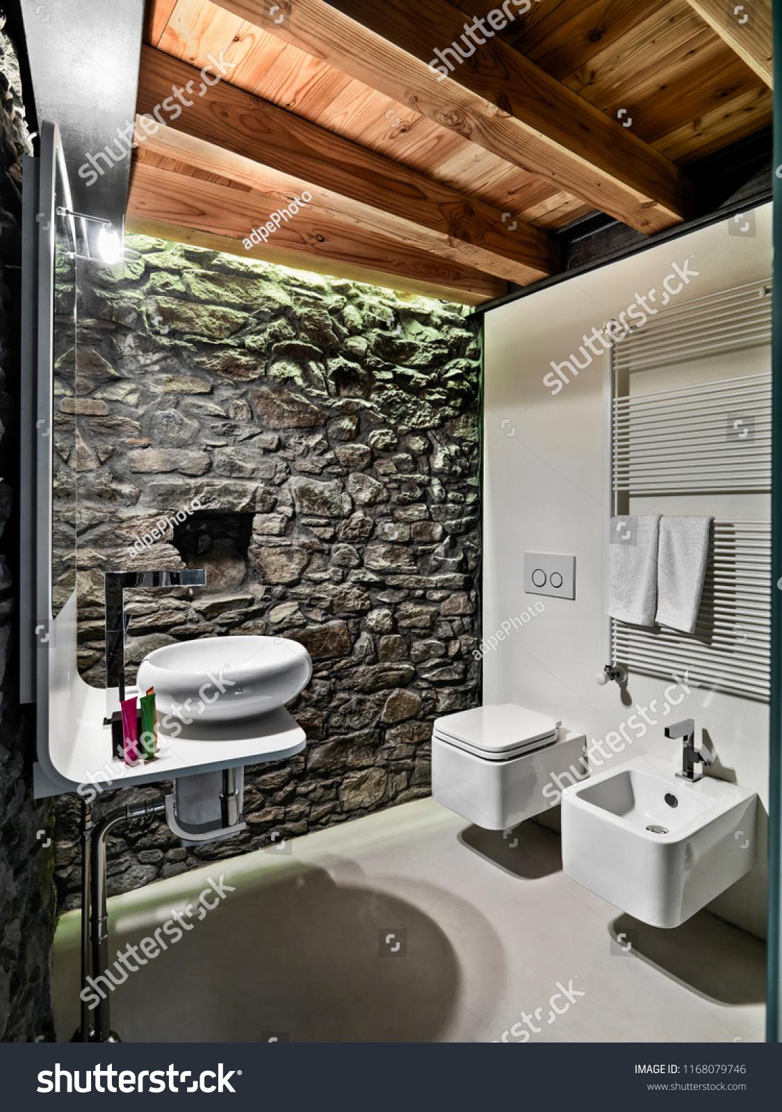 Interiors Shots Modern Bathroom Stone Wall Stock Photo Edit Now 1168079746