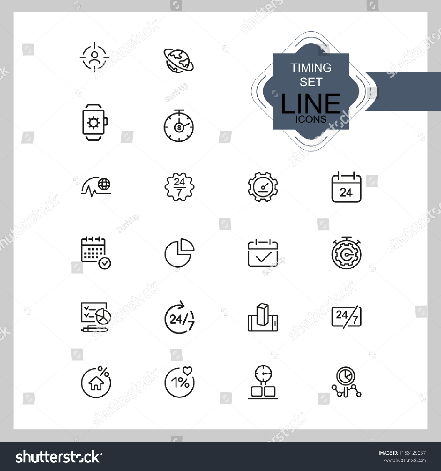 timing icons set line icons all stock vector royalty free