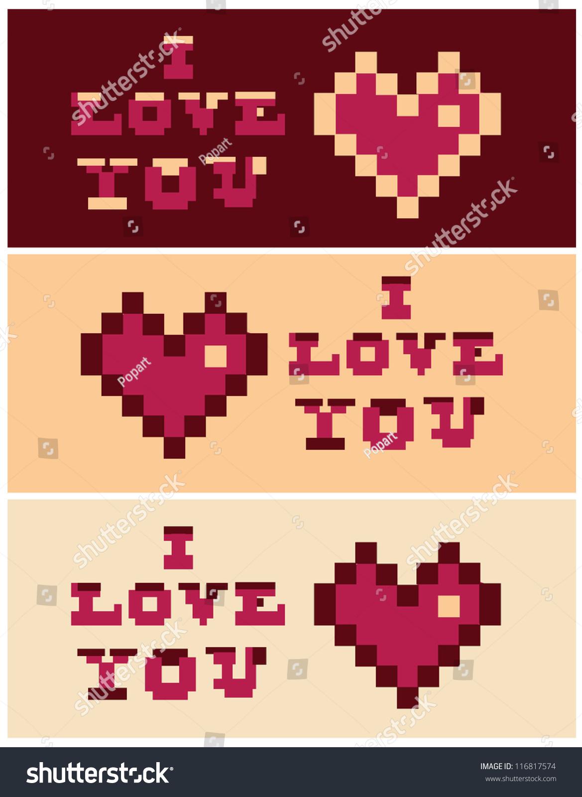 Image Vectorielle De Stock De Pixel Art Love You Heart Text