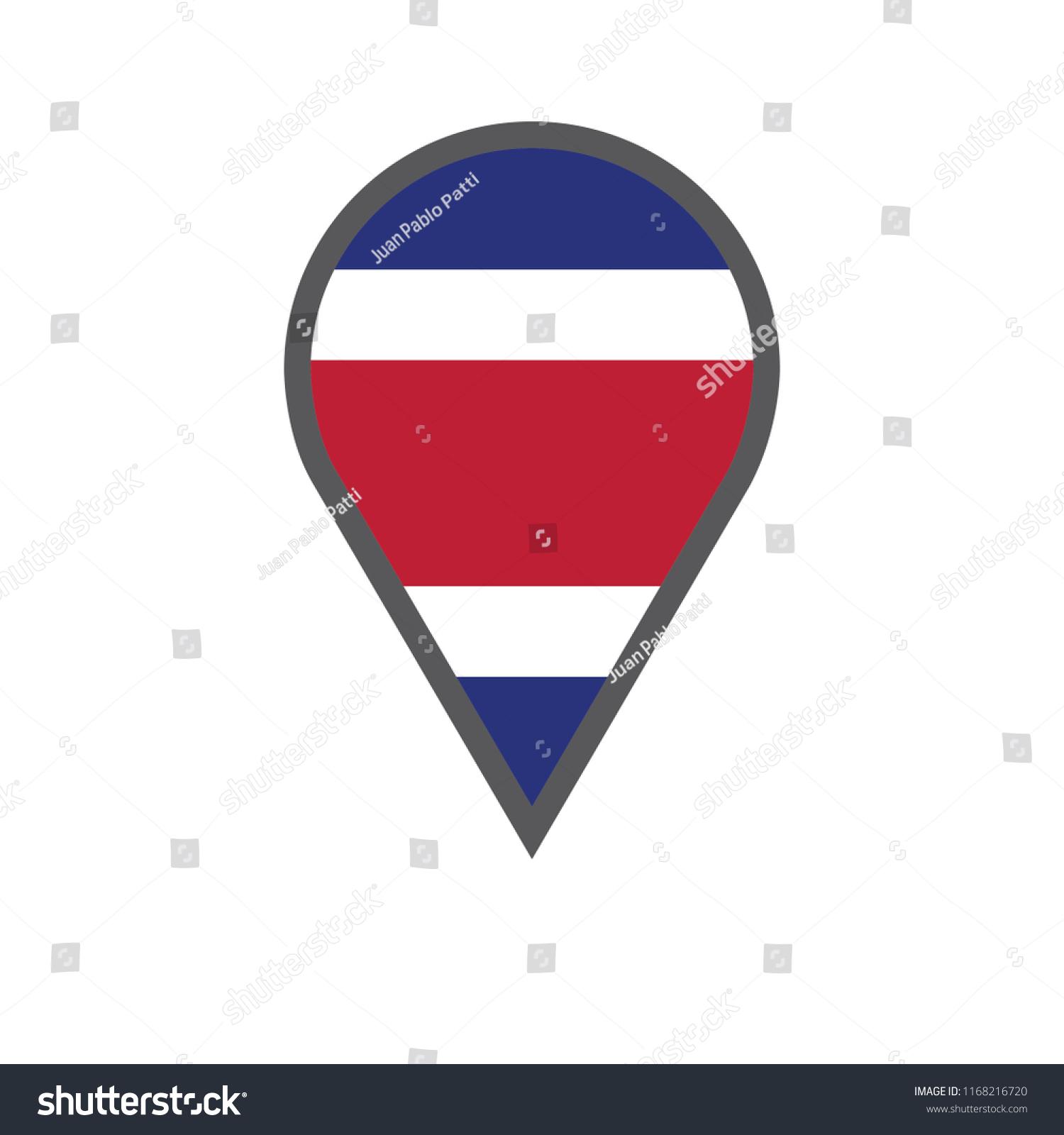 Costa Rica Location Map Vector Illustration Stock Vector (Royalty ...