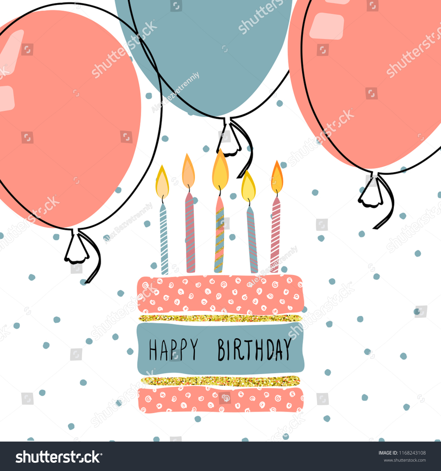 Modern Happy Birthday Greeting Cards Design