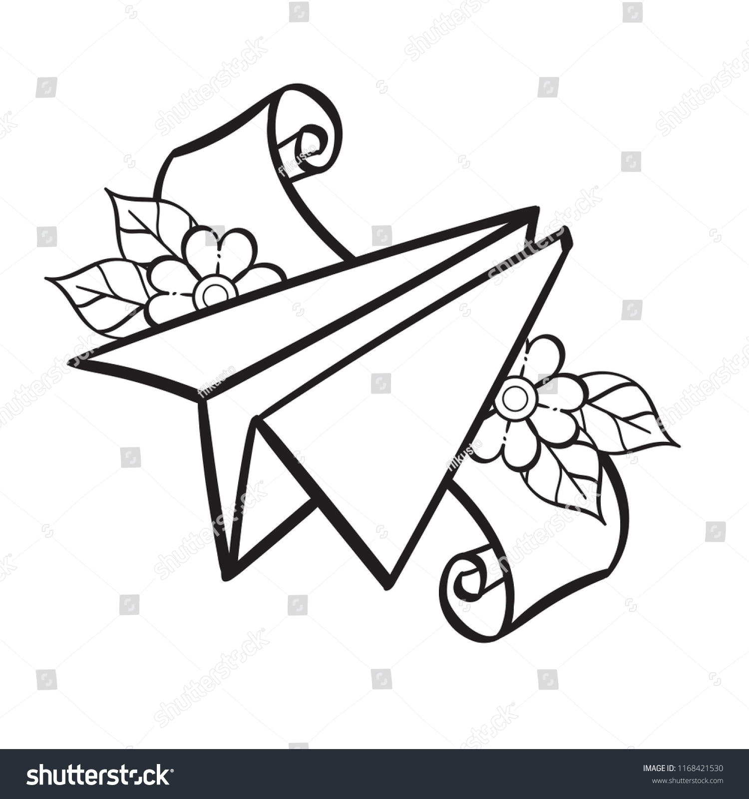 paper airplane contour illustration coloring template stock vector